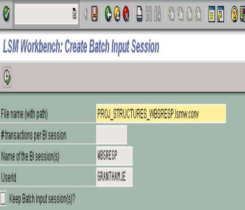12. CREATE BATCH INPUT SESSION • When the screen to the left appears, simply click on
