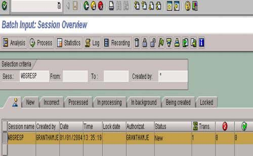 13. RUN BATCH INPUT SESSION • When the screen shown appears, highlight the session by clicking