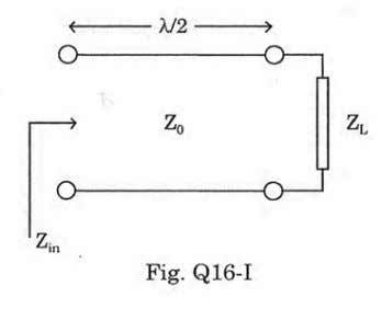 Fig. Q16-I. The input impedance as seen at the other end is a. b. c. d.