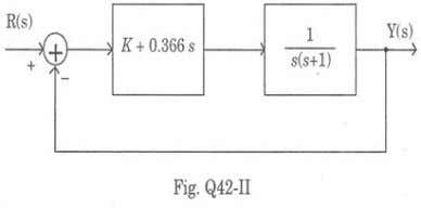 at the crossover frequency of 1 rad/sec. The value of K is a. 0.366 b. 0.732