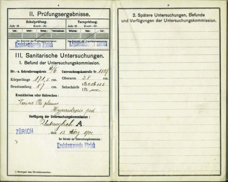 "Albert Einstein ! s Swiss Military ""Service Booklet"". He was declared exempt from service when"