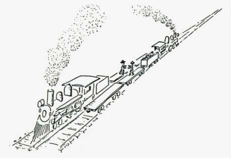 perpendicular to the direction of travel of the trains: Copyright © 2000 Lewis C. Epstein, Relativity