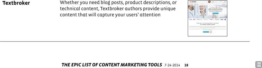 Textbroker Whether you need blog posts, product descriptions, or technical content, Textbroker authors provide unique content