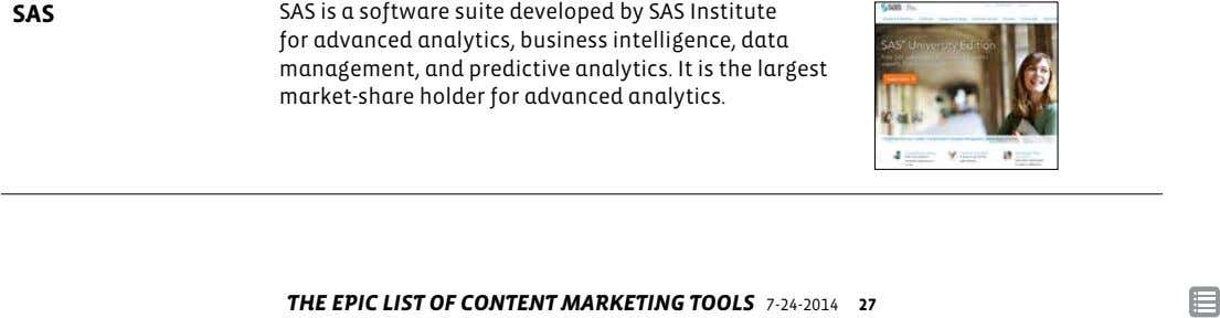 SAS SAS is a software suite developed by SAS Institute for advanced analytics, business intelligence, data