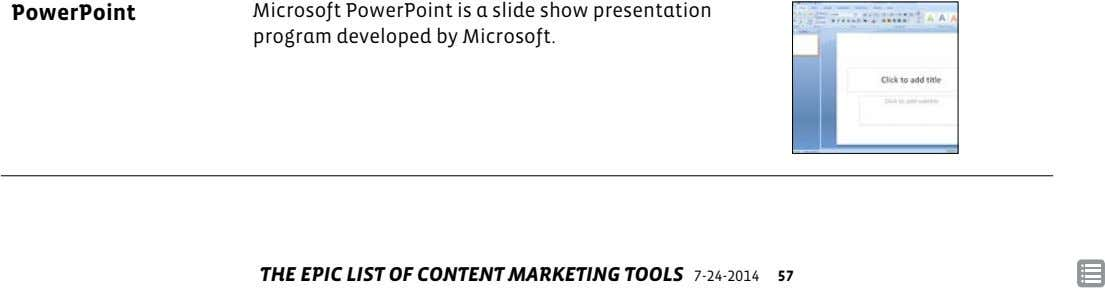 PowerPoint Microsoft PowerPoint is a slide show presentation program developed by Microsoft. THE EPIC LIST OF