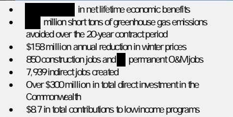 • in net lifetime economic benefits • million short tons of greenhouse gas emissions avoided