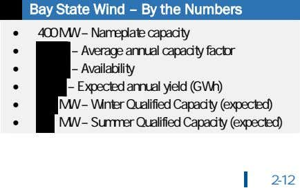Bay State Wind – By the Numbers • 400 MW – Nameplate capacity • Average
