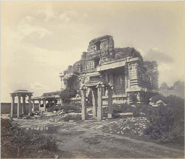 An 1868 photograph of the ruins of the Vijayanagara Empire at Hampi , now a