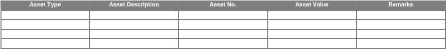 Type Asset Description Asset No. Asset Value Remarks Obligation / Deduction Details Existing Loans (If Any)