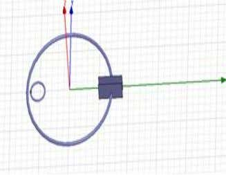 the simulated design of the magnetic loop antenna in HFSS. Figure 2: HFSS simulation design of