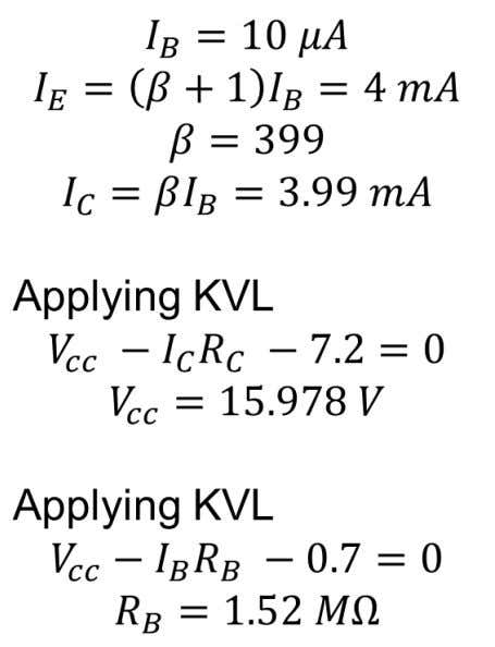 Problem 1. Determine V c c and R B in the following circuit V CC R