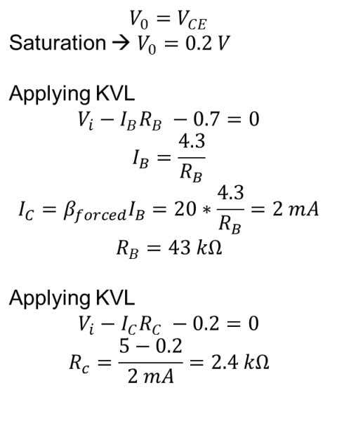 transfer characteristics (a plot of V 0 vs V i ) with these resistances 5 V