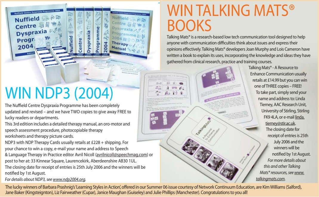 WIN TALKING MATS® BOOKS WIN NDP3 (2004) The Nuffield Centre Dyspraxia Programme has been completely