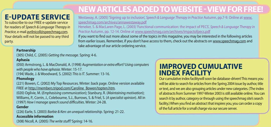 NEW ARTICLES ADDED TO WEBSITE - VIEW FOR FREE! E-UPDATE SERVICE To subscribe to our