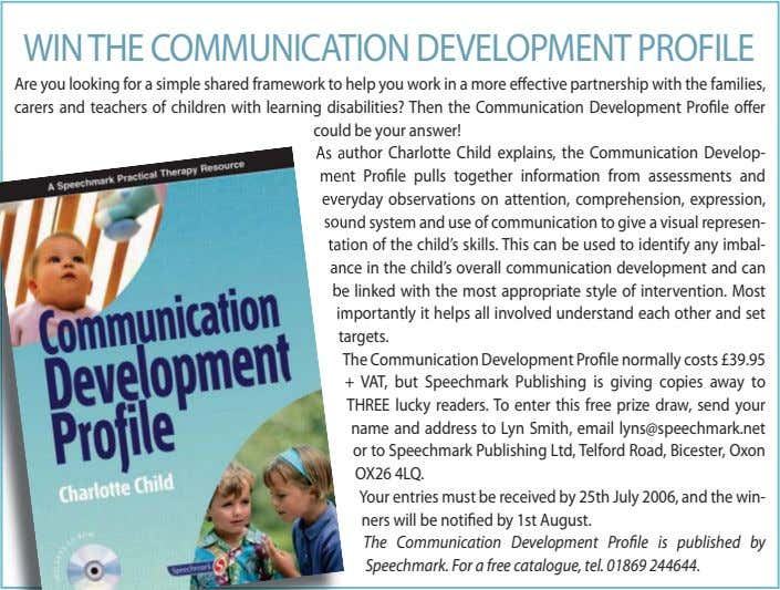WINTHE COMMUNICATION DEVELOPMENT PROFILE Are you looking for a simple shared framework to help you