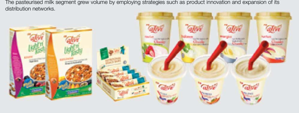 The pasteurised milk segment grew volume by employing strategies such as product innovation and expansion