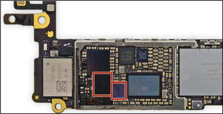 board with red boxes around the chips is included below. 36. The chips are responsible for
