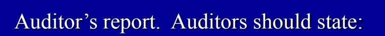 Auditor's report. Auditors should state: