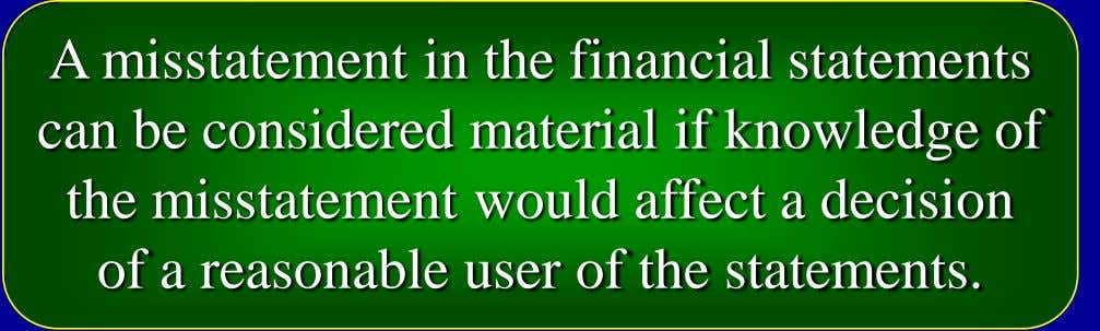 A misstatement in the financial statements can be considered material if knowledge of the misstatement