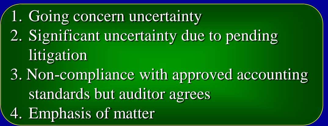 1. Going concern uncertainty 2. Significant uncertainty due to pending litigation 3. Non-compliance with approved