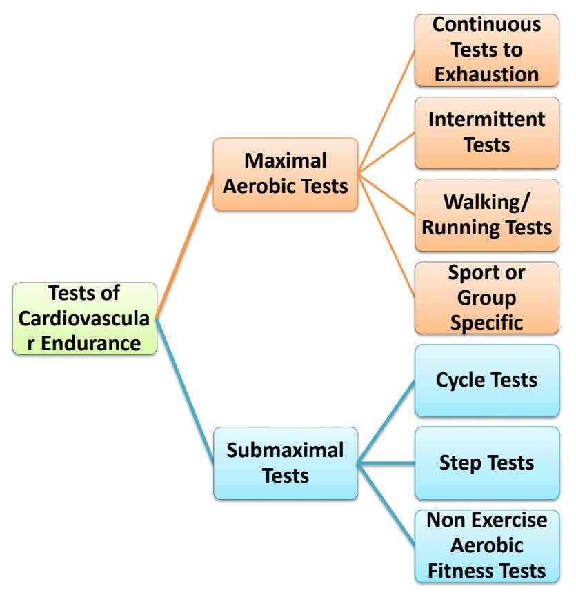 Continuous Tests to Exhaustion Intermittent Tests Maximal Aerobic Tests Walking/ Running Tests Sport or Tests of