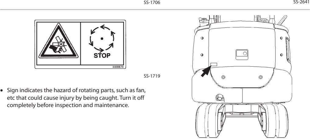 SS-1706 SS-2641 SS-1719 • Sign indicates the hazard of rotating parts, such as fan, etc