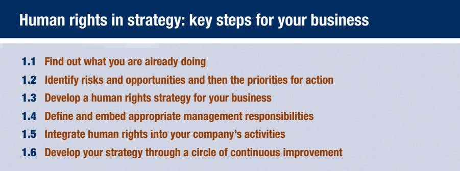 Human rights in strategy: key steps for your business 1.1 Find out what you are
