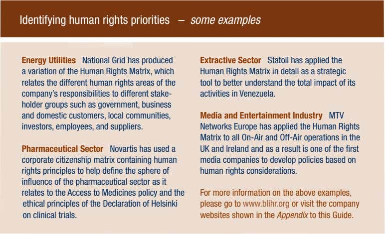 Identifying human rights priorities – some examples Energy Utilities National Grid has produced Extractive Sector