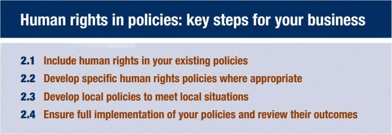 Human rights in policies: key steps for your business 2.1 Include human rights in your