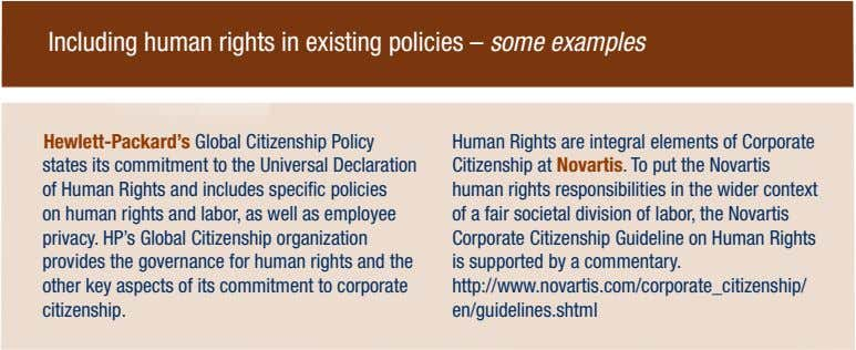Including human rights in existing policies – some examples Hewlett-Packard's Global Citizenship Policy states its