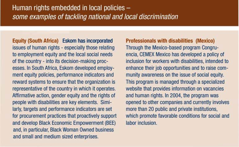 Human rights embedded in local policies – some examples of tackling national and local discrimination
