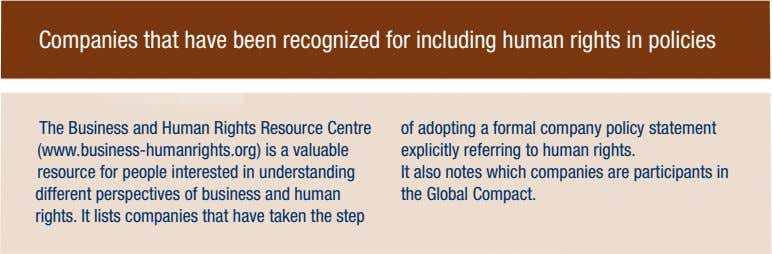 Companies that have been recognized for including human rights in policies The Business and Human