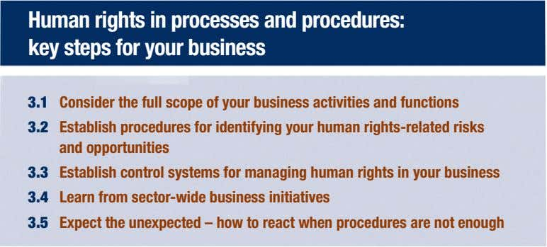 Human rights in processes and procedures: key steps for your business 3.1 Consider the full