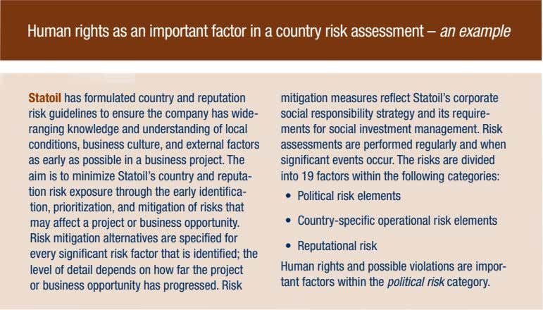 Human rights as an important factor in a country risk assessment – an example Statoil