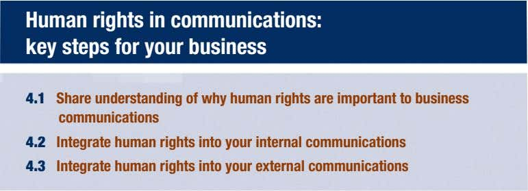 Human rights in communications: key steps for your business 4.1 Share understanding of why human