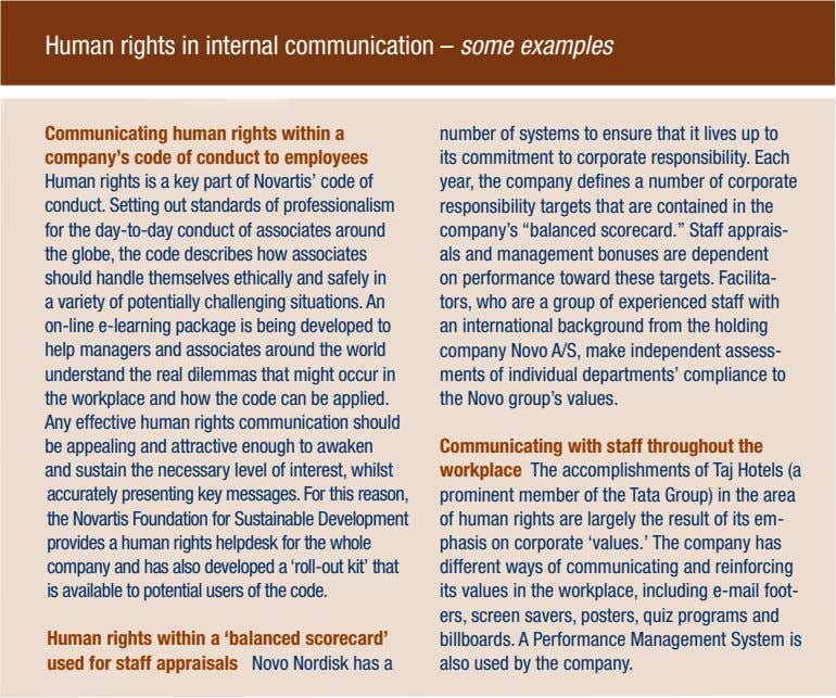 Human rights in internal communication – some examples Communicating human rights within a company's code