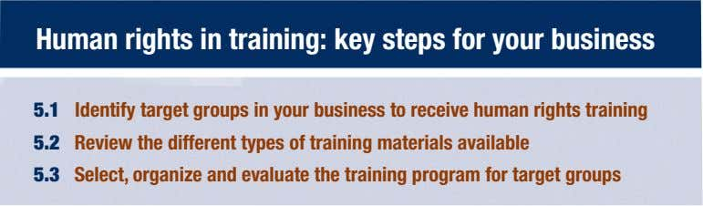 Human rights in training: key steps for your business 5.1 Identify target groups in your