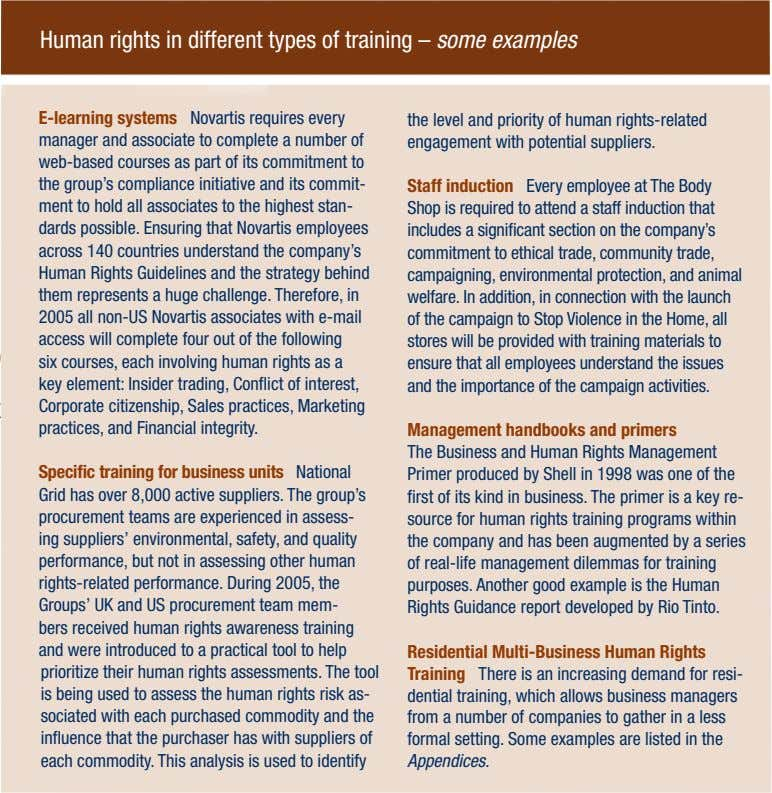 Human rights in different types of training – some examples E-learning systems Novartis requires every