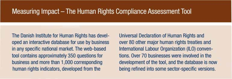 Measuring Impact – The Human Rights Compliance Assessment Tool The Danish Institute for Human Rights