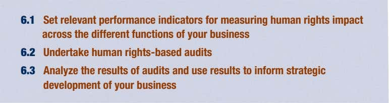 6.1 Set relevant performance indicators for measuring human rights impact across the different functions of