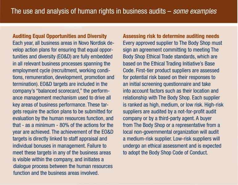 The use and analysis of human rights in business audits – some examples Auditing Equal