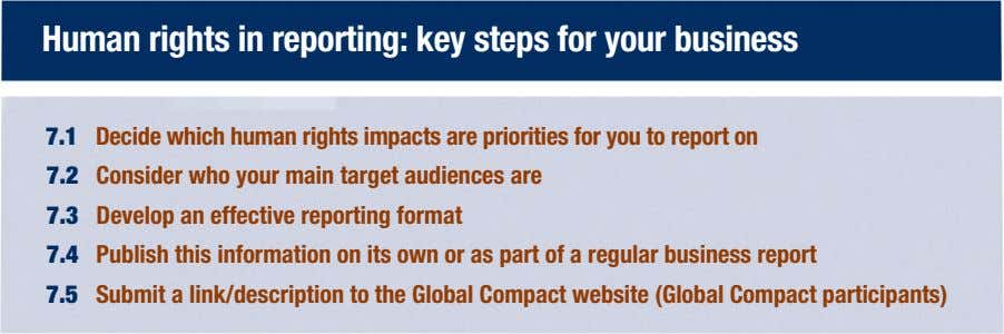 Human rights in reporting: key steps for your business 7.1 Decide which human rights impacts