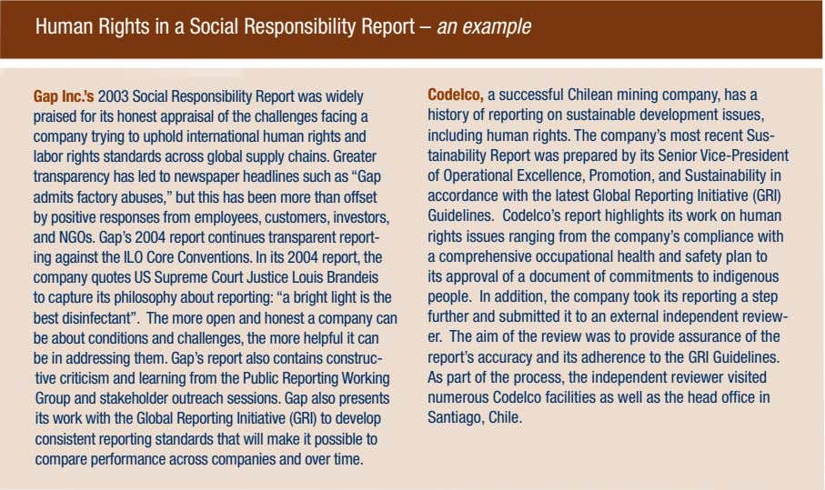 Human Rights in a Social Responsibility Report – an example Gap Inc.'s 2003 Social Responsibility