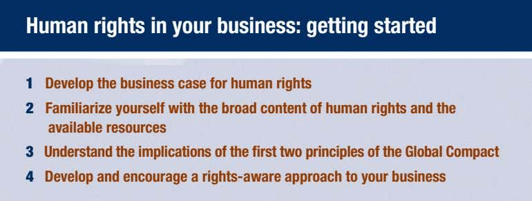 Human rights in your business: getting started 1 Develop the business case for human rights