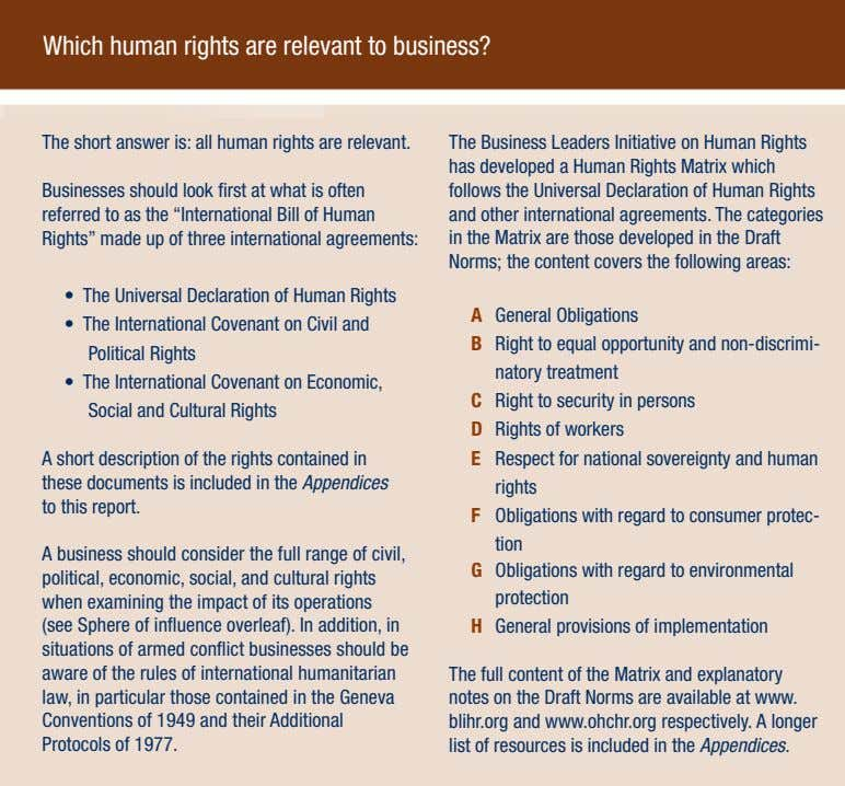 Which human rights are relevant to business? The short answer is: all human rights are