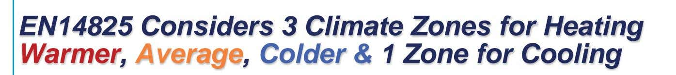 EN14825 Considers 3 Climate Zones for Heating Warmer, Average, Colder & 1 Zone for Cooling