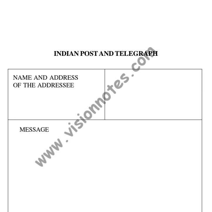 Write INDIAN POST AND TELEGRAPH NAME AND ADDRESS OF THE ADDRESSEE MESSAGE