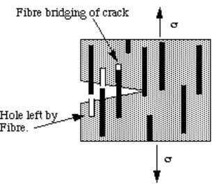 Figure 1. Fibre pullout during crack growth. In the above equation d is the fibre