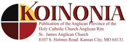Publication of the Anglican Province of the Holy Catholic Church Anglican Rite St James Anglican
