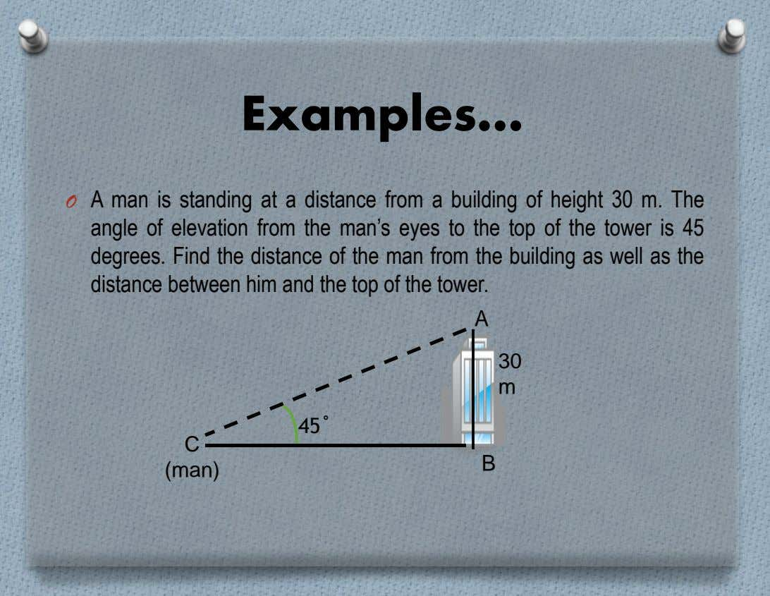 Examples… O A man is standing at a distance from a building of height 30 m.